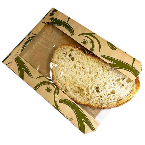 Natural Kraft Food Bags w/PLA window - Zenith 6600