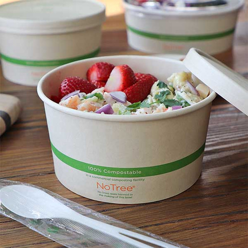 32 oz Compostable Wide Paper Bowls Sample