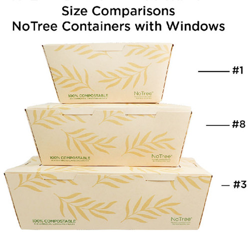 NoTree Paper #3 To Go Boxes 65 oz w/ PLA Window Sample