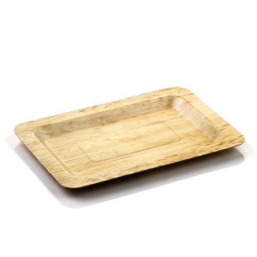 "Bamboo Leaf Plate Rectangular 8"" x 5"""