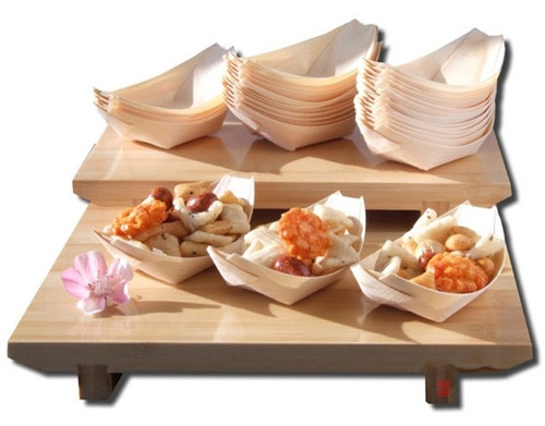 "8"" x 4.25"" Large Wooden Food Boat RWB0157"
