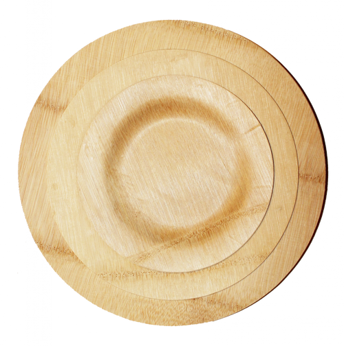Bamboo Veneer Round Plate Medium, 100 count box