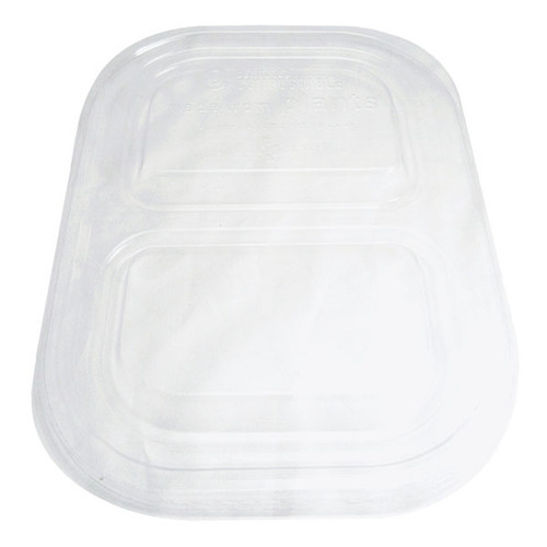 "8"" x 6"" Double Compartment Fiber Tray Lid, Clear TRL-CS-8D"