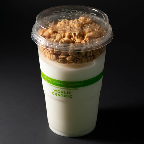 Parfait insert in 9 oz cup with lid