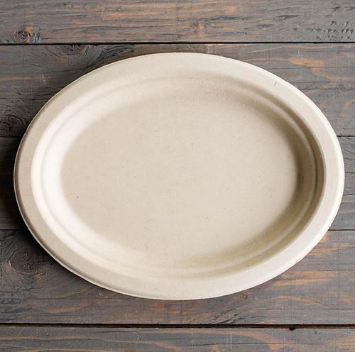 "Compostable 10"" Fiber Oval Plates PL-SC-U10O"