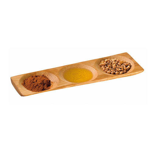 """""""PATONG"""" Bamboo Three Compartment Dish 7.1 x 2.4 x .4"""" 