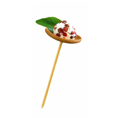 """THANI"" Bamboo Mini Dish with Skewer - 1.6 x 3.9"""