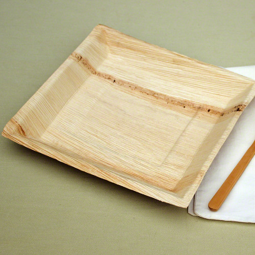 "10"" x 10"" Square Palm Leaf Plates - Deep"