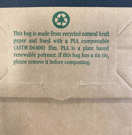 Bottom of 1/2 lb compostable Coffee Bags CN-6PLA
