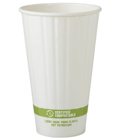 16 oz Double Wall Compostable Hot Paper Cups  | Sample