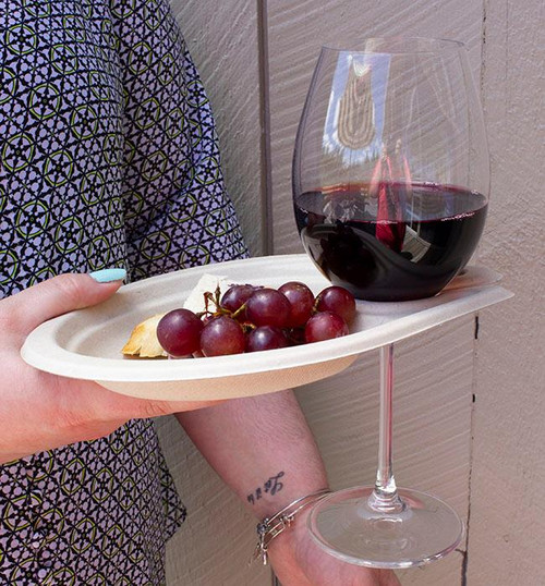 """7"""" Fiber Party Plate with Wine Glass Holder sample"""