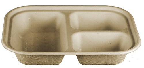 3 Compartment Fiber Tray | PLA Lined | 10 x 7.5 x 1.5 | Sample