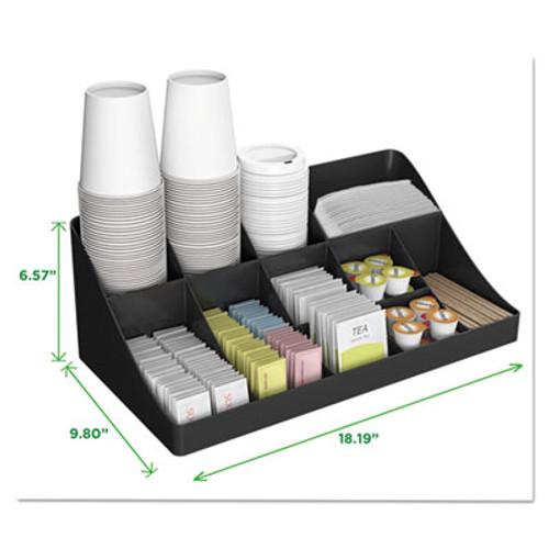 11-Compartment Coffee Condiment Organizer| Black| 18.25 x 6.63 x 9.88