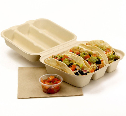 Sample 3 Compartment Taco Fiber Clamshell