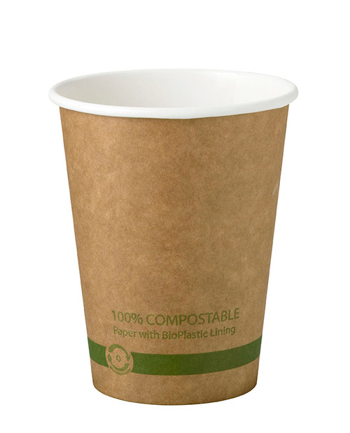 Custom Printed 10 oz Kraft Compostable Hot Cup
