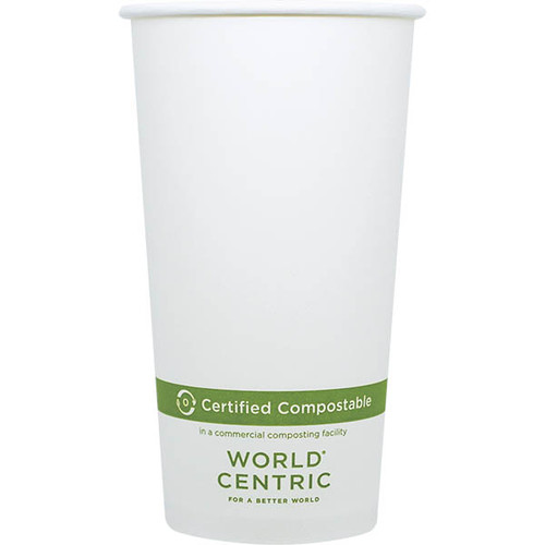 Custom Printed 20 oz White Compostable Coffee Cups