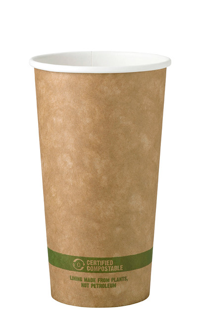 Custom Printed 20 oz Kraft Compostable Paper Hot Cup