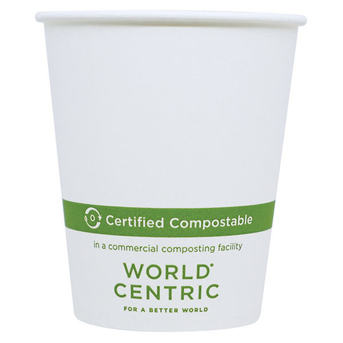 Custom Printed 6 oz White Paper Compostable Hot Cup