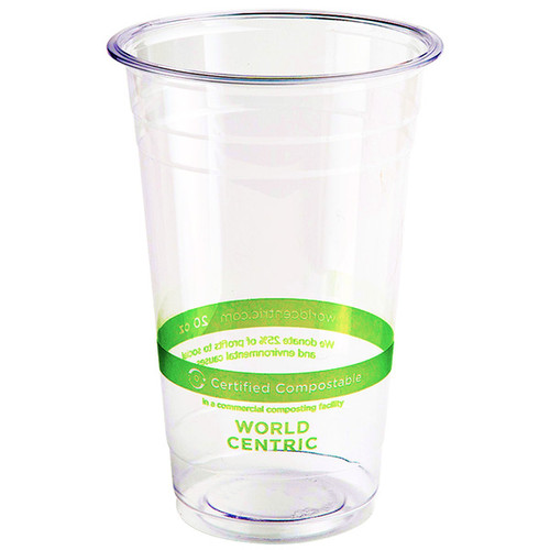 World Centric Custom Printed 20 oz Compostable Plastic Cold Cups
