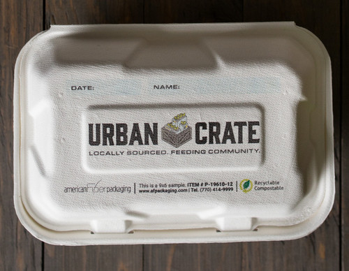 Custom Printed 2 Compartment White Sugarcane Clamshell