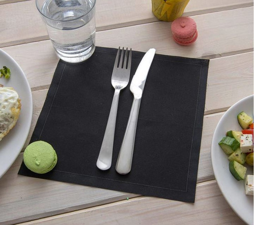 Napluxe Organic Cotton Disposable Meal Napkin | Black | 500 count