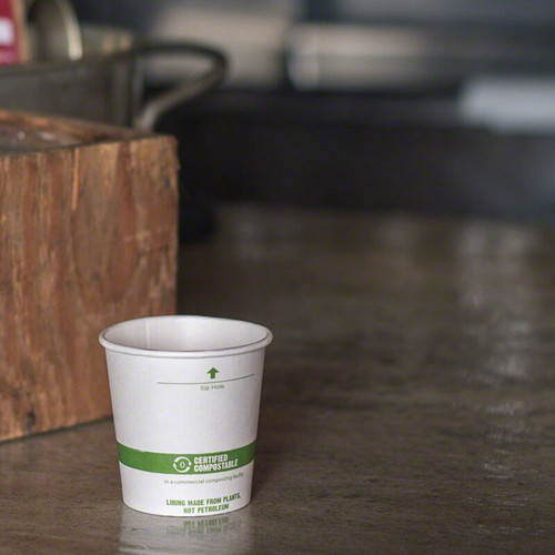 4 oz White Compostable Coffee Cups CU-PA-4