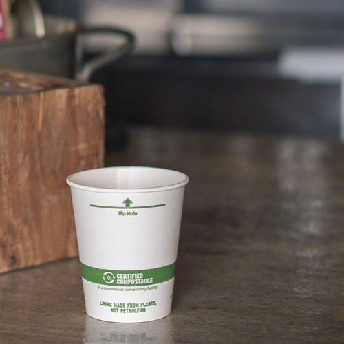 CU-PA-6 - 6 oz White Compostable Coffee Cups