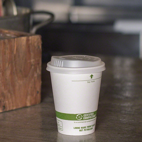 CU-PA-8 - 8 oz White Compostable Coffee Cups
