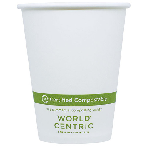 8 oz White Compostable Coffee Cups CU-PA-8