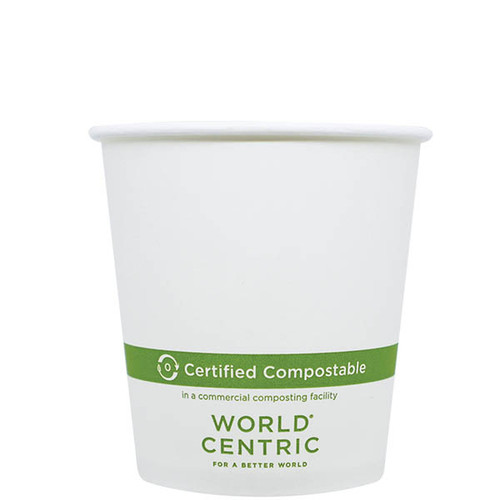 CU-PA-10 10 oz White Compostable Coffee Cups