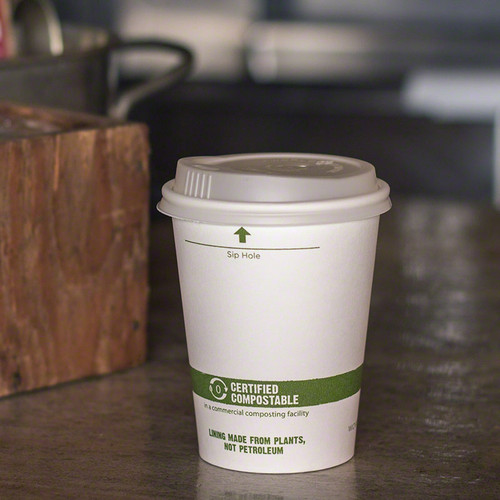 12 oz White Compostable Coffee Cups CU-PA-12