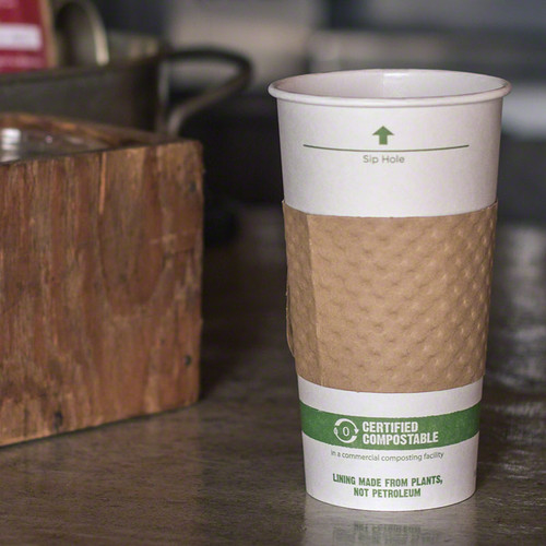 16 oz White Compostable Coffee Cups CU-PA-16