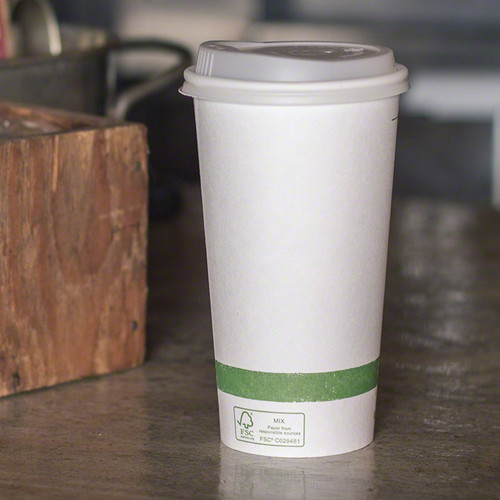 20 oz White Compostable Coffee Cups CU-PA-20