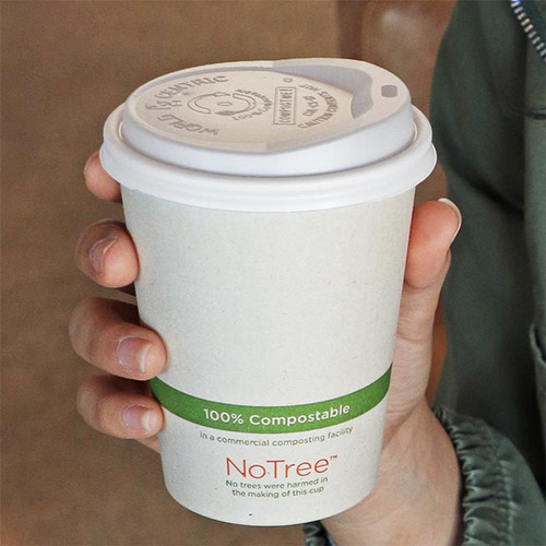 CPLA Lid Compostable Plastic Fits 10-20 oz Hot Cup CUL-CS-12