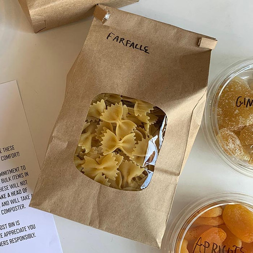 Natural Brown Kraft Pasta Bags with PLA windows