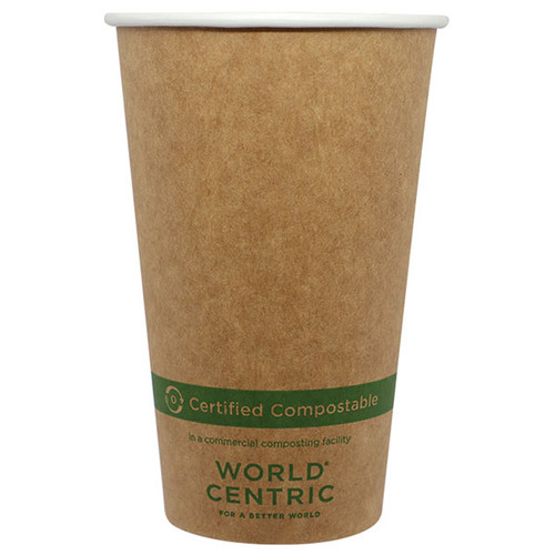 16 oz Kraft Paper Compostable Coffee Cups CU-PA-16-K