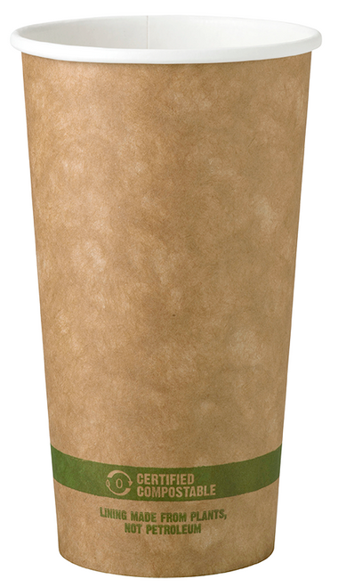 20 oz Kraft Paper Cups | Compostable Hot Coffee Cups | 1,000 count