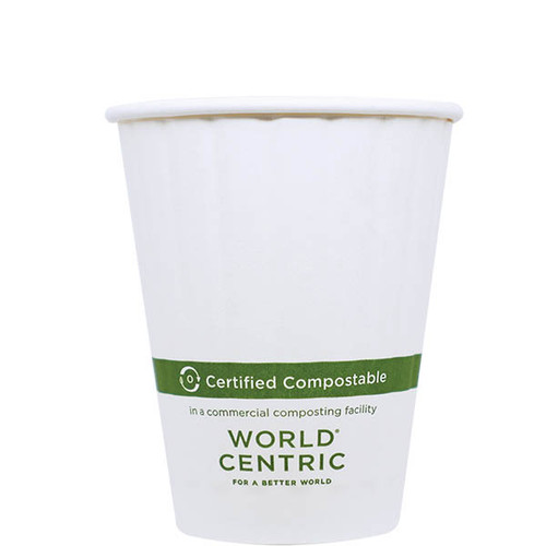 8 oz Double Wall Compostable Hot Paper Cups CU-PA-8D