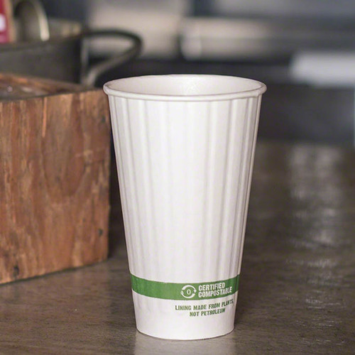 16 oz Double Wall Compostable Hot Paper Cups CU-PA-16D