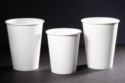 Family of white compostable coffee cups