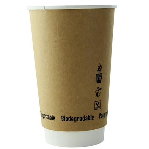 16 oz Double Wall Kraft Compostable Hot Cups 210GCDW16K