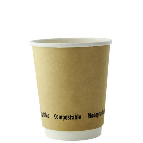 210GCDW8K 8 oz Double Wall Kraft Compostable Coffee Cups