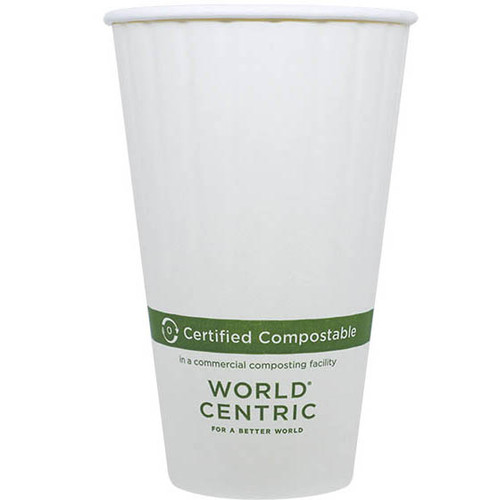 Custom printed 20 oz Double Wall Compostable paper coffee cups