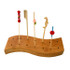"""Waved 14 Holes Bamboo Pick Holder 14 Holes- 6.25 x 1.9"""" 