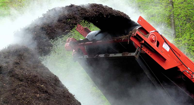 Grinding commercial compost