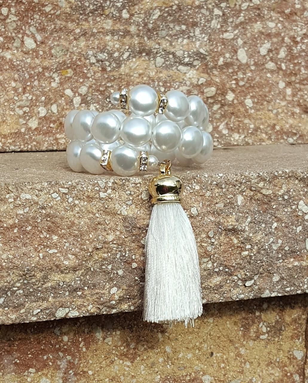 White Wrap Around Bracelet with Tassel