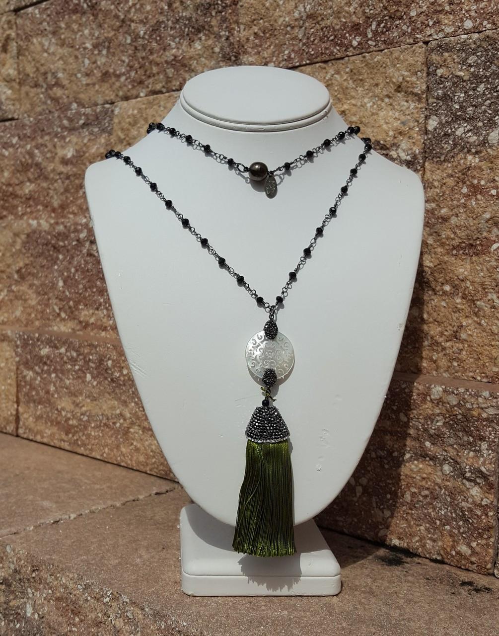 """Olive Green 36"""" Tassel Necklace"""