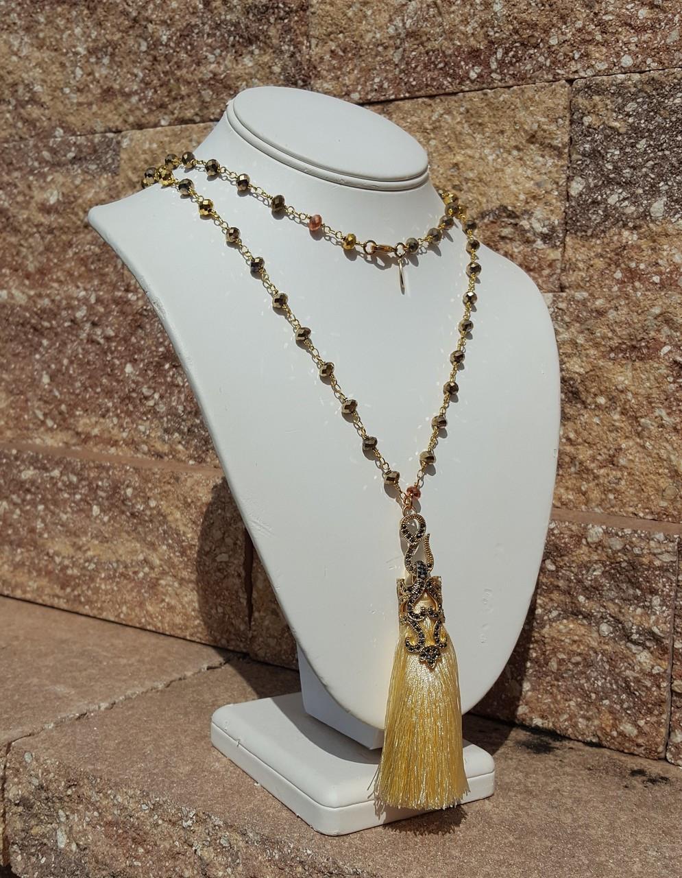 """Cream 36"""" Tassel Necklace"""