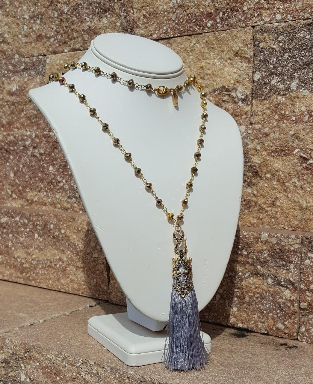 "Silver Tassel 36"" Necklace"