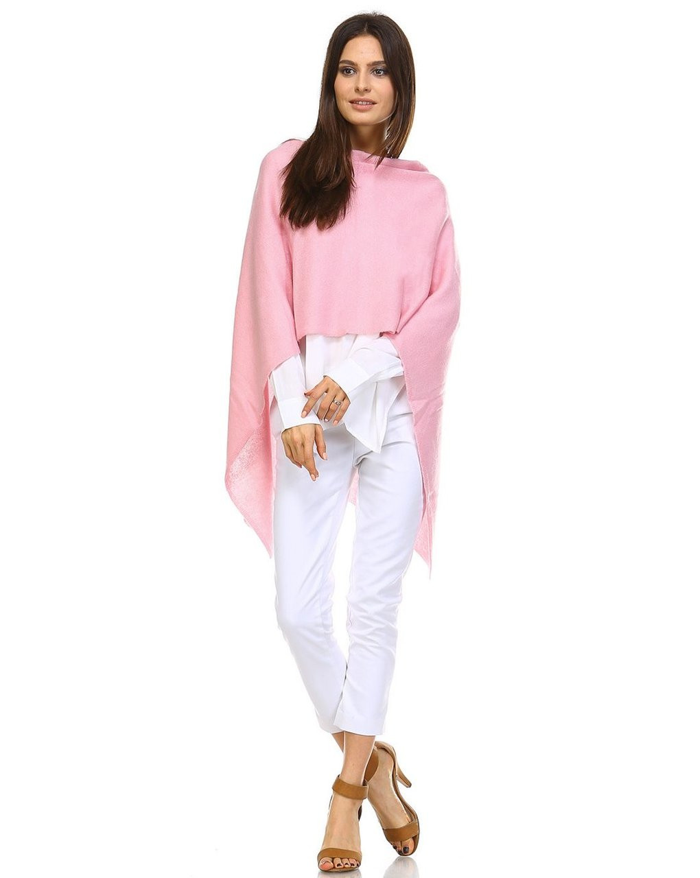 Cashmere Poncho - Cotton Candy